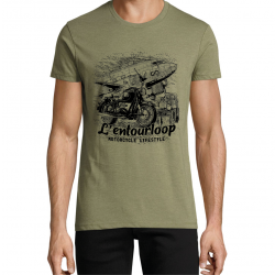 T-Shirt Men Aviator chiné Kaki