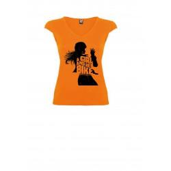 T-Shirt V Lady Her Bike Orange