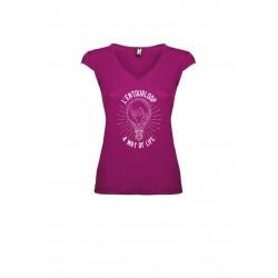 T-Shirt V Lady Light Fushia