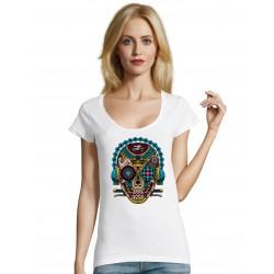 T-shirt V Lady Skull blanc